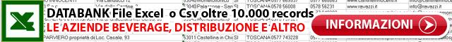 Databank excel xls csv Dati Indirizzi e-mail Aziende Beverage Bevande Tabella Campi records