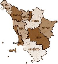 mappa TOSCANA cartina