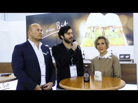 Sabine Kalenborn ed Edgardo Bonati di Bitburger a Hospitality Riva 2020