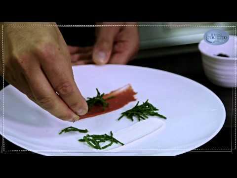 Il menù perfetto//Merluzzo alla plancia, composta di rabarbaro, maionese di pesce e asparagi di mare