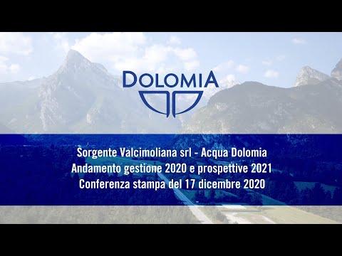 Sorgente Valcimoliana srl - Acqua Dolomia - Andamento gestione 2020 e prospettive 2021