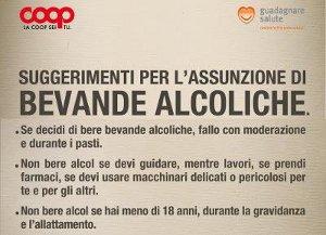 Coop Adotta Cartellonistica Informativa Consumo Responsabile Bevande Alcoliche