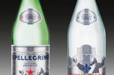 Bottiglie Acqua Panna e Acqua Minerle Sampellegrino Luciano Pavarotti