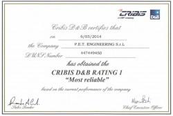 """P.E.T. Engineering è """"Cribis D&B Rating 1"""""""