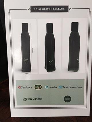 Flow Bottiglia Olio D'Oliva 100% Italiano - IED Master Istituto Europeo di Design - Verallia - Symbola- Unaprol - Guala clousures