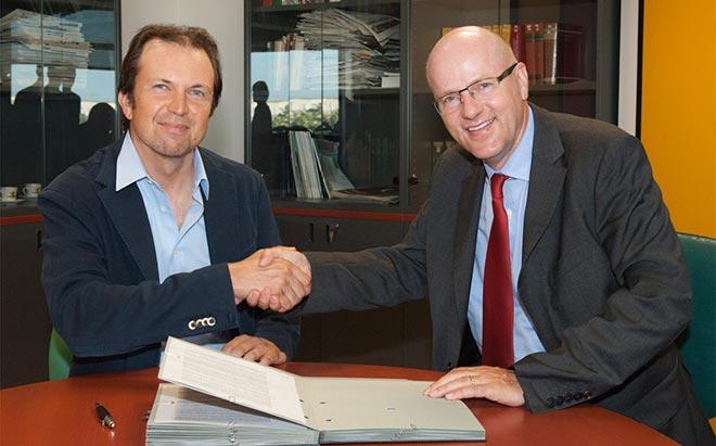Nella foto Domenico Zonin presidente UIV e Reinhard Pfeiffer, direttore generale di MMG
