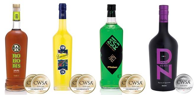 Medaglie CWSA 2015 Mavi Drink - Roboris Amaro - Limoncello di Procida - Misaki - Crema di Liquore Dolce e Nera