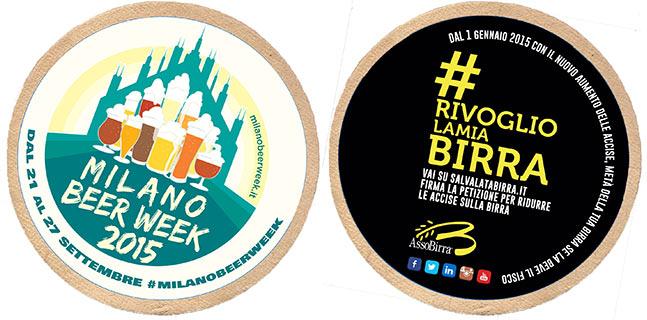 Milano Beer Week 2015 Esempio sottobicchieri campagna rivogliolamiabirra Assobirra
