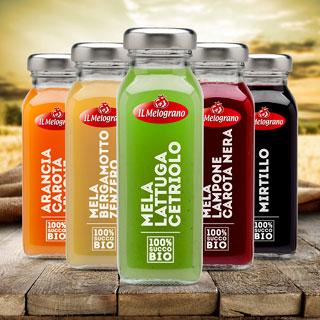 IL MELOGRANO presenta una linea completa di succhi 100% Bio frutta & verdura