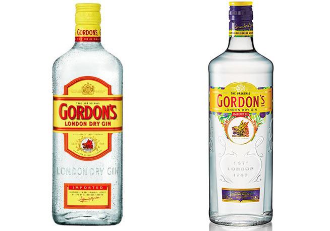 Il confronto tra la vecchia bottiglia di Gordon's London Dry Gin sulla sinistra e la nuova sulla destra