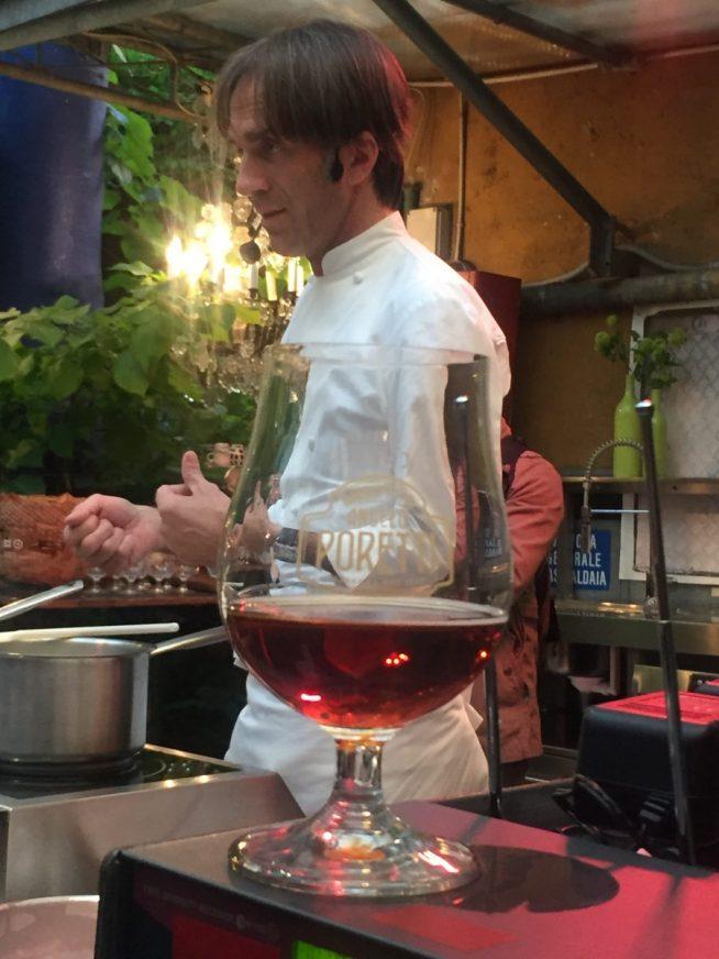 Chef Davide Oldani alla presentazione delle nuove Poretti 8 Luppoli