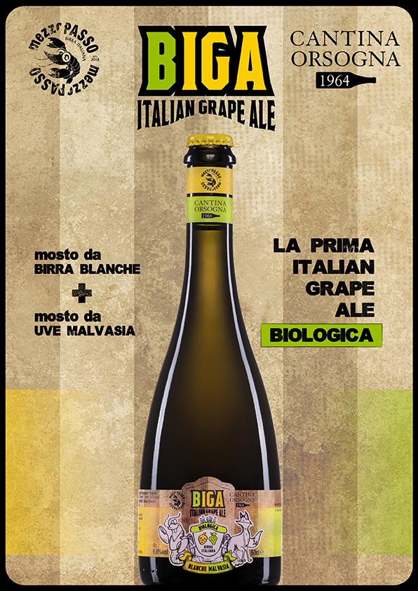 Biologico Birra Artigianale Grape Italian Birra Bio Biologica Cantina Orsogna 1964 Totalmente Birrificio Mezzopasso Iga - Italian Grape Ale Biga Birra