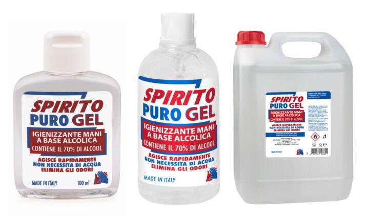 Le confezioni di Spirito Puro Gel igienizzante mani