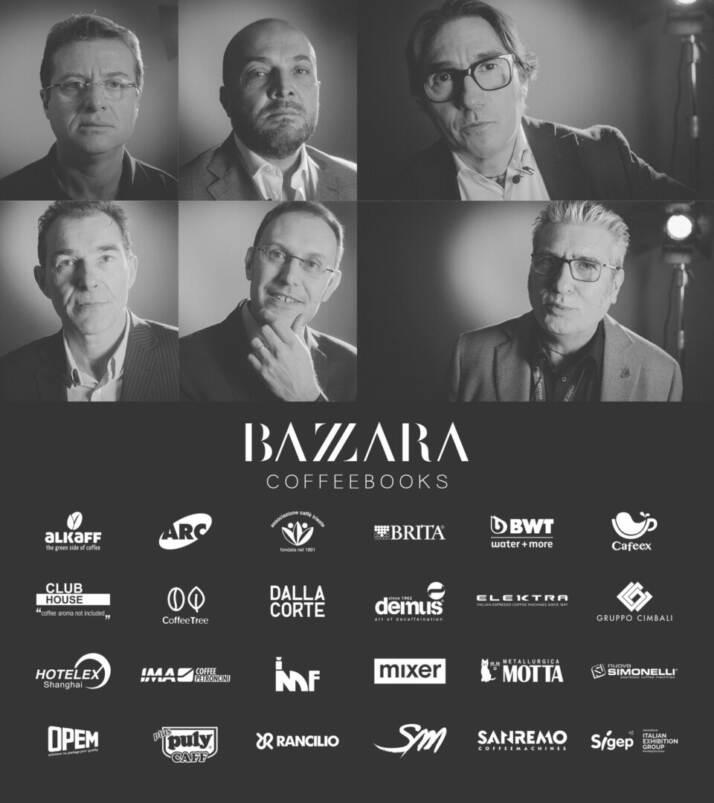 Alcuni dei protagonisti del nuovo libro dei fratelli Bazzara e loghi dei partner