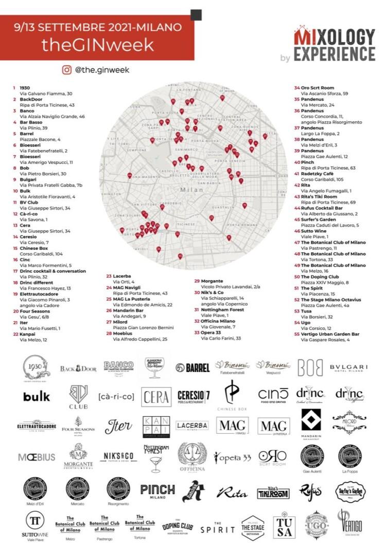 La mappa dei locali che partecipano alla theGINweek
