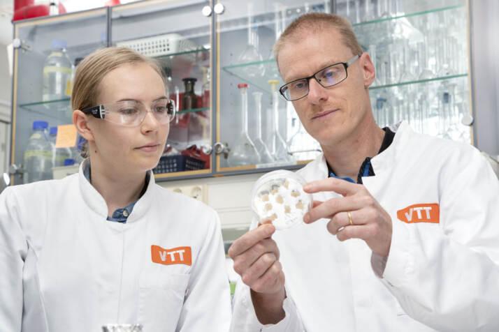 La ricercatrice Elviira Kärkkäinen e il capo del team di ricerca Heiko Rischer al laboratorio VTT