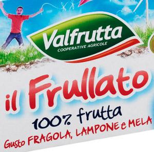 La linea FRULLATI VALFRUTTA 100% FRUTTA si arricchisce del nuovo gusto fragola lampone e mela